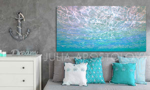 Water Photography of Tropical Waters, Turquoise Wall Art Abstract Canvas Print, Relaxing Zen Decor