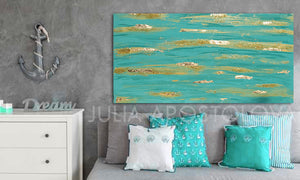 Original Painting, Turquoise Wall Art, Turquoise and Gold, Gold Leaf Painting, Zen Painting, Coastal Decor, Large Art, Contemporary Art, Abstract Wall Art, Coastal Wall Art , Turquoise Gold Colors, Glitter, Gold Leaf, Shining Golden Details, Sparke Art, Glam, Zen , Interior Decor,  Julia Apstolova, Luxury, Hotel Lobby, Home Decor, Spa Decor, Interior Designers, Wall Art, Painting, Livingroom, Bathroom, Bedroom Decor