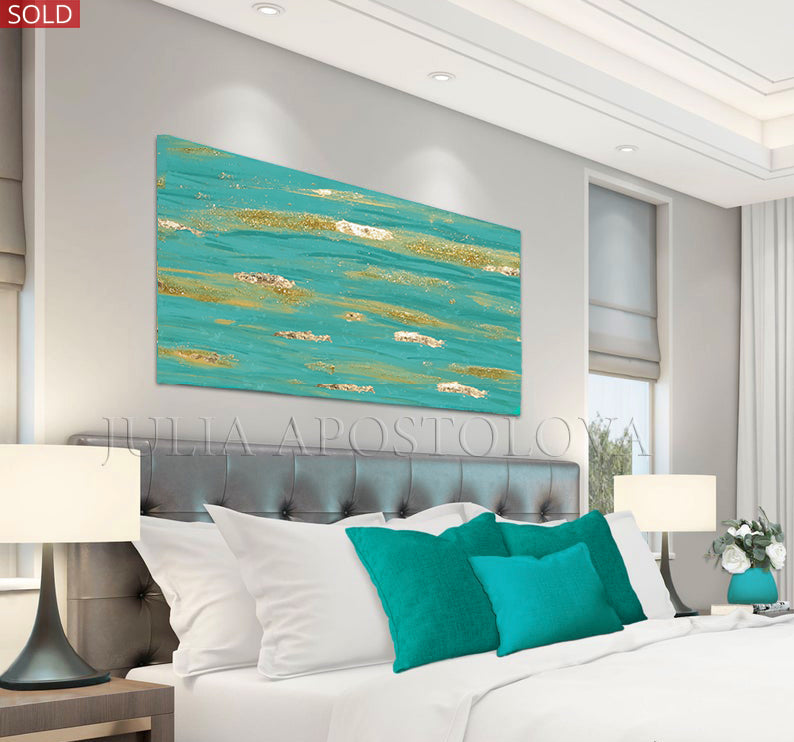 Turquoise Gold Wall Art, Original Painting, Minimalist Art, Gold Leaf Abstract Painting, Sparkle Art, Coastal Wall Decor, Turquoise Wall Art, Turquoise and Gold, Gold Leaf Painting, Zen Painting, Coastal Decor, Large Art, Contemporary Art, Abstract Wall Art, Coastal Wall Art, Turquoise Gold Colors, Glitter, Gold Leaf, Shining Golden Details, Glam, Zen , Interior Decor, Julia Apstolova, Luxury, Hotel Lobby, Home Decor, Spa Decor, Interior Designers, Wall Art, Livingroom, Bedroom Decor