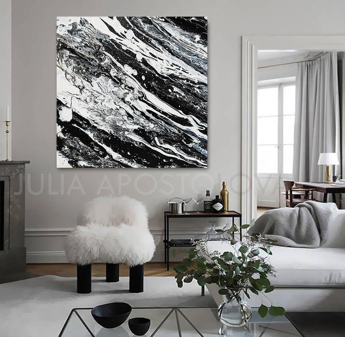Black White Walll Art, Modern Art, Black and White Abstract Print, Ready To Hang, Large Wall Art, Print on Canvas, Black White Painting, Contemporary Art, Julia Apostolova, Interior, Decor, Luxury, Interior Design, Interior Designers, Hotel Decor, Lobby Decor, Art, Painting, Large Wall Art Canvas Print, Ready to Hang