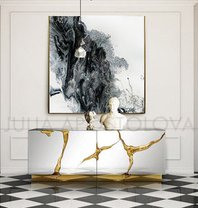 Black and White Paintings,Abstract Watercolor Set of 2 Canvas Art 'Arctic Land' by Julia Apostolova