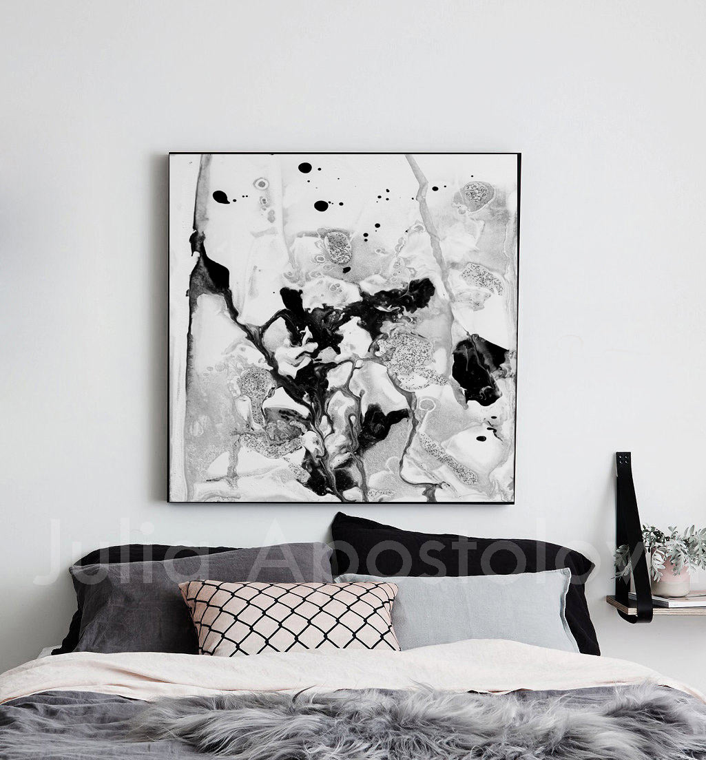 Contemporary Black White Wall Art Minimalist Abstract Painting Ready To Hang Canvas Abstract Print