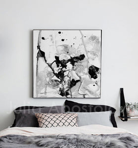 Contemporary Black White Wall Art, Minimalist Abstract Painting, Ready To Hang Canvas Abstract Print, Modern Black and White Abstract Print, Ready To Hang, Large Wall Art, Print on Canvas, Black White Painting, Black White Modern Art, Contemporary Art by Julia Apostolova, Interior Design, Interior Designer