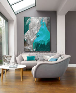 Turquoise Silver Wall Art Abstract Minimalist Painting, Modern Seascape Canvas Art Print,Coastal Art
