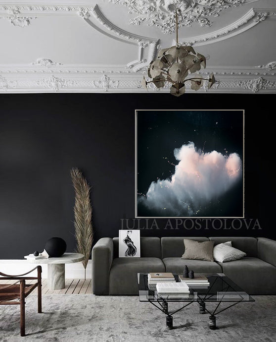 Black Art, Cloud Painting, Cloud Abstract Celestial Wall Art Canvas Print, Minimalist Trending Decor, Black White Clouds, Large Cloud Art Decor, Cloudscape, Julia Apostolova Cloud Painting, Interior, Decor, Design, Trend Decor, Scandi, Nordic, Modern, Scandinavian Art, Nordic Decor, Home Decor, Interior Designer, Livingroom Art, Bedroom, Art above Bed, Art above Sofa, Trending