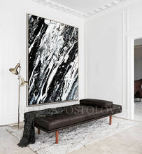 Modern Black and White Abstract Print, Ready To Hang, Large Wall Art, Print on Canvas, Black White Painting, Black White Modern Art, Contemporary Art by Julia Apostolova, Interior Design, Interior Designer, Lobby Decor, Hotel Decor, Minimalist Art, Canvas Painting Print