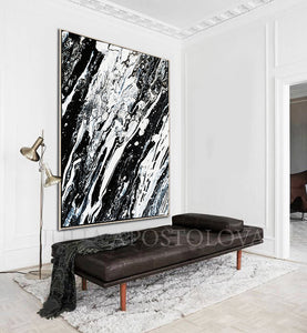 Black White, Modern Art, Black and White Abstract Print, Ready To Hang, Large Wall Art, Print on Canvas, Black White Painting, Black White Modern Art, Contemporary Art by Julia Apostolova, Interior Design, Interior Designer