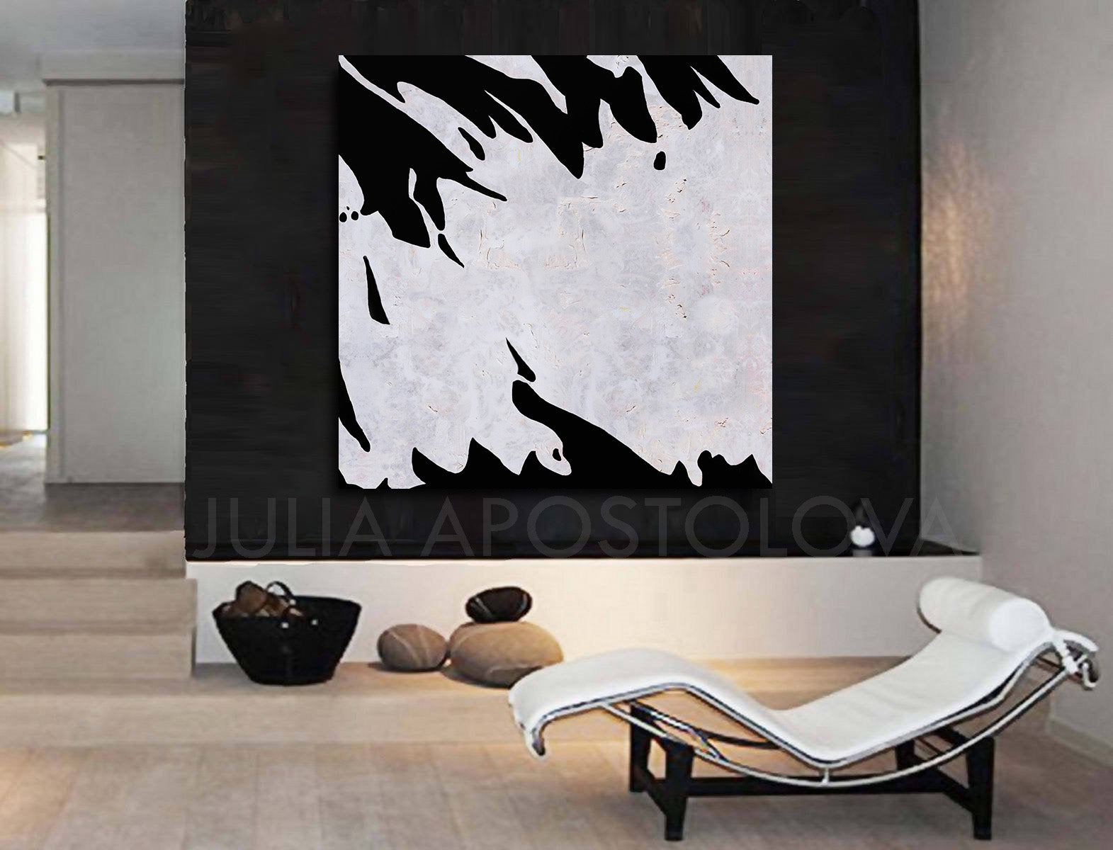 Black White Abstract Wall Art Modern Painting Print Julia Apostolova