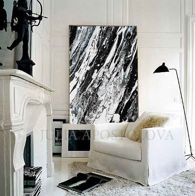 Modern Black and White Abstract Print, Ready To Hang, Large Wall Art, Print on Canvas, Black White Painting, Black White Modern Art, Contemporary Art by Julia Apostolova, Interior Design, Interior Designer