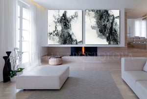 Black and White Painting Wall Art Canvas with Silver Accents, Modern Art Abstract Watercolor Print