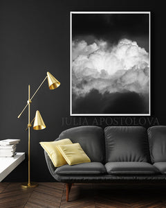 Black White Cloud Wall Art Canvas Print, Black White Cloud Abstract Painting Minimalist Trendy Decor