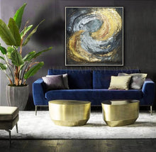 Huge Painting, Black Gold Leaf Abstract, Silver Leaf Original Wall Art, Luxury Decor, Galaxy Dance, Julia Apostolova, Copper leaf, galaxy painting, art for him, modern interior decor, framed wall art, gold frame painting, silver interior design, interior designers, interior design decor, interior decor, Interior Ideas  huge canvas wall art, black gold leaf abstract, metallic colors, luxury wall art, luxury painting, luxury interior design, elegant wall art, elegant painting