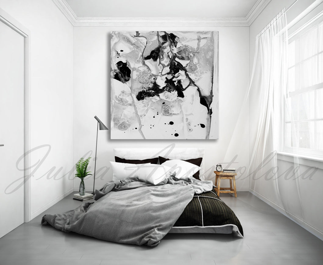 Contemporary Black White Wall Art, Minimalist Abstract Painting, Ready To Hang Canvas Abstract Print