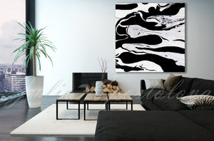 Modern Black and White Abstract Print, Ready To Hang, Large Wall Art, Print on Canvas, Black White Painting, Contemporary Art by Julia Apostolova, Interior, Design, Living Room,