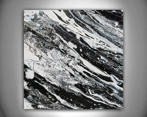 Modern Black and White Abstract Print, Ready To Hang, Large Wall Art, Print on Canvas, Black White Painting, Contemporary Art by Julia Apostolova