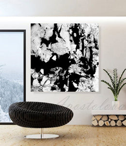 Modern Black and White Abstract Print, Ready To Hang, Large Wall Art, Print on Canvas, Black White Painting, Black White Modern Art, Contemporary Art by Julia Apostolova