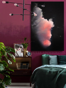 Large Black Wall Art Cloud Painting Abstract Print, Minimalist Black Pink Cloud Art Modern Decor, Julia Apostolova, Bedroom Art,  Cloud Wall Art, Dreaming Decor, Cloud Painting Abstract, Black Art, Cloudscape, Livingroom, Daningroom, Art over Bed, Art over Sofa, Interior, Wall Art, Interior Designers, Nordic Decor, Scandinavian Decor, Black Pink Wall Art