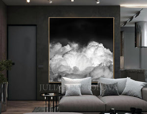 Black White Cloud Painting, Large Cloud Wall Art Black White Cloud Canvas Print, Modern Office Decor, Canvas Print, Black Art, Cloud Painting, Cloud Abstract Celestial Wall Art Canvas Print, Minimalist Trending Decor, Black White Clouds, Large Cloud Art Decor, Cloudscape, Julia Apostolova Cloud Painting, Interior, Decor, Design, Trend Decor, Scandi, Nordic, Modern, Scandinavian Art, Nordic Decor, Home Decor, Interior Designer, Livingroom Art, Bedroom, Art above Bed, Art above Sofa, Trending, Nordic Wall Art