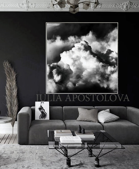 Black White Clouds, Black Sky, Cloud Wall Art, Cloudscape Painting, Black White Cloud Canvas Print, Black Art, Cloud Painting, Cloud Abstract Celestial Wall Art Canvas Print, Minimalist Trending Decor, Black White Clouds, Large Cloud Art Decor, Cloudscape, Julia Apostolova Cloud Painting, Interior, Decor, Design, Trend Decor, Scandi, Nordic, Modern, Scandinavian Art, Nordic Decor, Home Decor, Interior Designer, Livingroom Art, Bedroom, Art above Bed, Art above Sofa, Trending, Office Decor