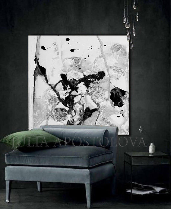 Contemporary Black White Wall Art, Minimalist Abstract Painting, Ready To Hang Canvas Abstract Print, white art, watercolour watercolor, Julia Apostolova, white wall decor, wall decor, black white wall art, trending decor, trending art, stretched canvas, marble wall art, large art, office art, elegant white decor, design decor, cozy, contemporary art canvas wall art , canvas print, canvas art,, canvas, calm, black white wall art canvas, black white art, black white abstract art, silver details, bedroom