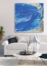 Blue and Silver Painting, Ocean Abstrac Wall Art, Julia Apostolova, Large Modern Art Print, Gift for Him, Cobalt Blue, Interior, Decor, Modern Art