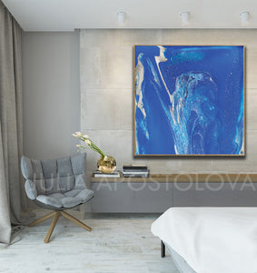 Blue Wall Art, Cobalt Blue Painting, Blue and Silver, Julia Apostolova, Textured Blue Canvas with Silver Accents, Ready to Hang Print, Interior, Livingroom, Design, Minimalist Painting