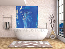 Blue Wall Art, Cobalt Blue Painting, Blue and Silver, Julia Apostolova, Textured Blue Canvas with Silver Accents, Ready to Hang Print, Interior, Livingroom, Design, Minimalist Painting, Bathroom Decor