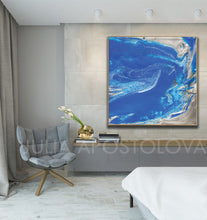 Blue and Silver Painting, Ocean Abstrac Wall Art, Julia Apostolova, Large Modern Art Print, Gift for Him, Cobalt Blue, Interior, Decor, bedroom, Modern Art