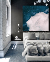 Blue White Cloud Wall Art Large Canvas Cloud Art Print Minimalist Celestial Abstract Art Trend Decor