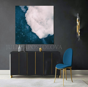 Blue White Cloud Wall Art, Trendy Art, Christmas Gift, Office Art, Large Canvas Cloud Art Print, Minimalist Art, Cloud Art, Celestial Abstract Art, Trend Decor, Blue Sky. Julia Apostolova, Bedroom Decor, Gift for Him, Modern Art, Art Gift, Livingroom, Boys Room Decor