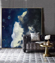 Cloud Painting Canvas Print Large Wall Art, Blue Sky White Clouds, Modern Abstract Art Gift for Him