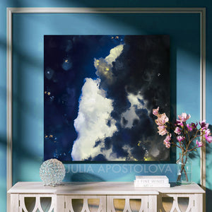 Cloud Painting Canvas Print Large Wall Art, Blue Sky & White Clouds,Modern Abstract Art Gift for Him