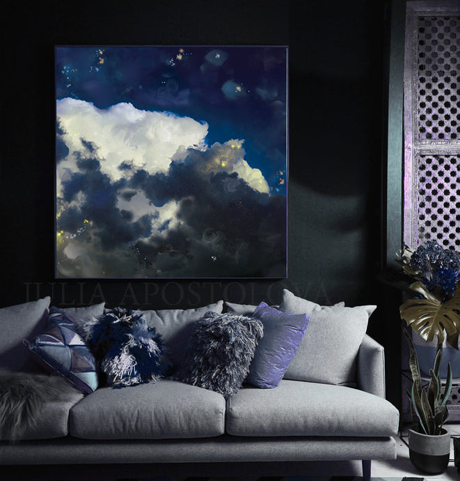 Cloud Painting Canvas Print Large Wall Art, Blue Sky White Clouds, Modern Abstract Art, Gift for Him, Julia Apostolova
