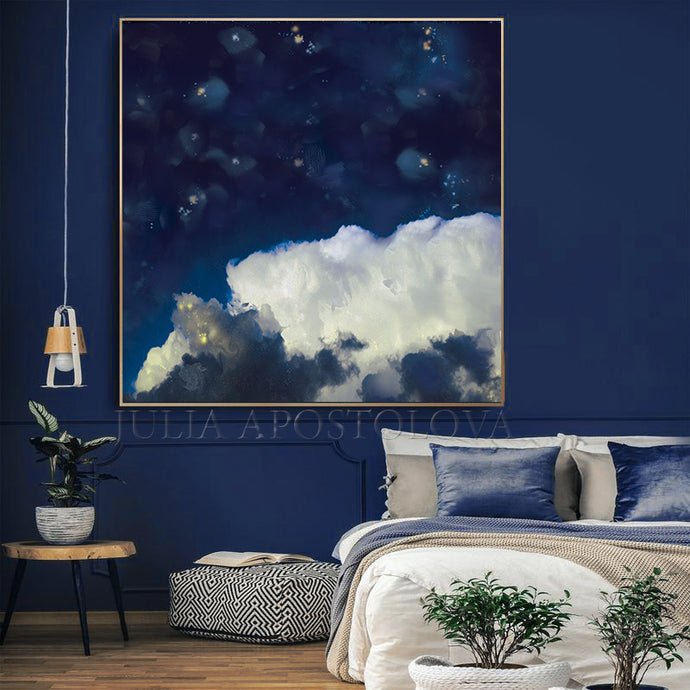 Navy Blue Cloud Wall Art Cloud Painting Canvas Print, Blue White Large Wall Art, Minimalist Abstract