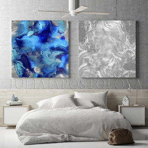 Silver Blue Wall Art, Minimalist Art, Set Wall Art Abstract, Gray Marble Painting Canvas Prints, Julia Apostolova, Diptych, Blue Painting, Silver Painting, Huge wall art, abstract, decor, print, interior, design, interior designer, bedroom decor, minimal art, office decor
