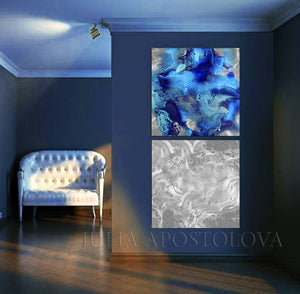 Silver Blue Minimalist Set Wall Art Abstract, Gray Marble Painting Canvas Prints by Julia Apostolova