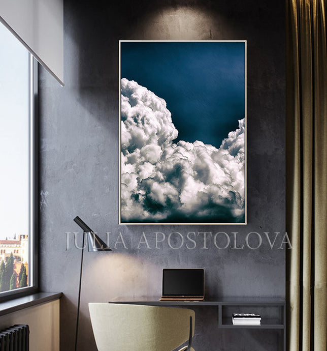 Blue Cloud Painting, Scandinavian Art Abstract Cloudscape Navy Blue Canvas Print, Celestial Wall Art