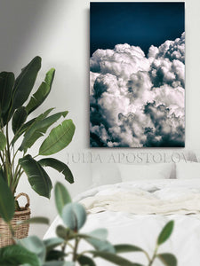 Cloud Painting,Navy Blue Cloud Art Canvas Print,Celestial Decor,Bly Sky and White Clouds, Nordic Art