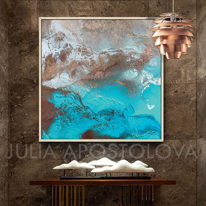 Copper Turquoise Abstract Wall Art, Coastal Decor, Modern Art Print, Earth Tones, Julia Apostolova