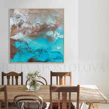 Copper Turquoise Abstract Wall Art, Coastal Decor, Modern Art Print, Earth Tones, Julia Apostolova, Abstract Copper Leaf Painting, Original Wall Art, Teal, Modern Decor, Luxury Wall Art Abstract, Elegant Interior Decor, Teal Gold Art, Luxury Wall Art Decor, Original Art, Gold Abstract Art, Glam Art, Copper Leaf Art, livingroom, sophisticated art, glamorous art, Earth colors, Contemporary art, home, office, hotel, restaurant decor, Abstract Painting, shining accents, interior, interior designer