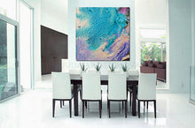 Abstract Seascape, Beach Wall Decor, Turquoise Abstract Painting, Cell Art Print, Modern Decor, Living Room, Interior Decor, Cell Painting, Cell Abstract Art, Home Decor, Beach Art, Design, Interior Designer, Large Wall Art by Fine Artist Julia Apostolova