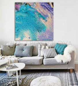 Abstract Seascape, Beach Wall Decor Turquoise Painting Cell Art Print Modern Decor, Julia Apostolova