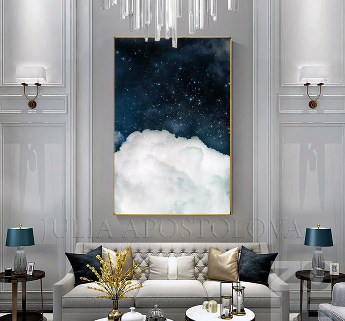 Blue Wall Art Cloud Painting, Dark Sky White Clouds, Large Canvas Cloud Abstract Galaxy Trendy Decor, Minimalist Art, Trend Wall Art, Julia Apostolova, bedroom art, interior, design decor, cumulus cloud, cumulus, white clouds artover bed, livingroom art, large wall art, home decor, celestial watercolor, celestial wall art, abstract clouds, abstract cloud wall art, abstract, cloud painting, boys room decor, office wall art, modern decor, luxury, textured canvas, hotel lobby decor, cloudscapes, navy blue