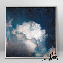 Cumulus Clouds, Cloud Painting, Navy Cloud Art, Celestial Abstract, Blue White Cloud Wall Art Large Textured Canvas, Julia Apostolova, Cloud Abstract Painting, Decor, Interior, Bedroom, Living Room, Celestial Wall ART, Clouds. Cloud Wall Art, Art over Bed, Dreamy Decor, Hotel Lobby Art