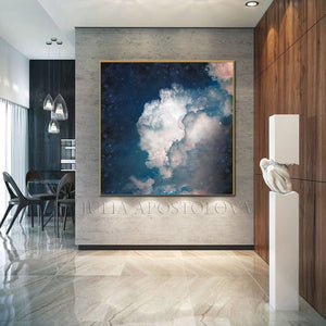 Cumulus Clouds, Navy Cloud Art, Celestial Abstract, Blue White Cloud Wall Art Large Textured Canvas, Cloud Painting, Decor, Interior, Bedroom, Living Room, Celestial Wall ART, Clouds. Cloud Wall Art, Art over Bed, Dreamy Decor, Hotel Lobby Art