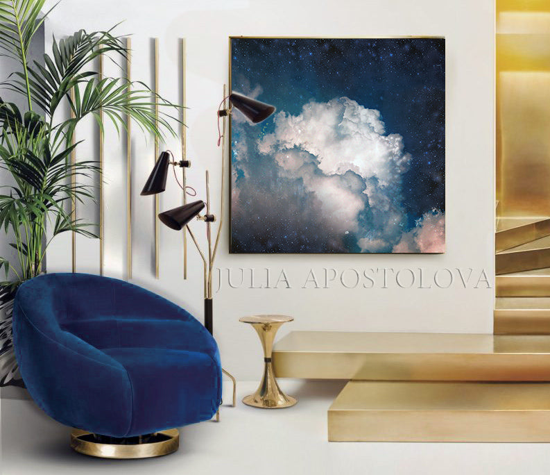 Cumulus Clouds, Navy Cloud Art, Celestial Abstract, Blue White Cloud Wall Art Large Textured Canvas, Cloud Painting, Decor, Julia Apostolova, Abstract Clouds, Interior, Bedroom, Living Room, Celestial Wall ART, Clouds. Cloud Wall Art, Art over Bed, Dreamy Decor, Hotel Lobby Art