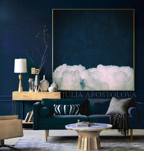 Cloud Painting, Navy Art, Dark Blue Cloud Abstract Art, Cloud Wall Art, Navy Blue Art, Minimalist Art, Textured Canvas, Trendy Decor, Julia Apostolova, Cloudscape, Nursery Decor, Gift for Him, Trend Art, Nordic Decor, Bedroom Art, Interior Ideas, Design, Cloud Art, Blue Sky, White Clouds, Modern, Contemporary, Minimal Decor, Ready to Hang, Dream Decor, Dreamy, Dream Cloud Painting, Living Room, Bedroom Decor, Office