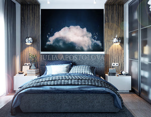 Cloud Painting, Navy Blue Painting, Large Cloud Wall Art Canvas Dark Navy Blue Abstract Trending Art, dark teal wall art, cloud wall art print, Julia Apostolova, dark teal art, dark sky and stars,  dark sky, bedroom art, office art, gift fro him, dreaming art, oil painting, blue art, blue painting, huge canvas, large wall art