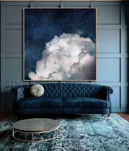Large Cloud Painting, Celestial Decor, Cloud Wall Art Abstract Navy Blue White Clouds, Large Canvas, Cumulus Clouds, Cloud Painting, Navy Cloud Art, Celestial Abstract, Blue White Cloud Wall Art Large Textured Canvas, Julia Apostolova, Cloud Abstract Painting, Decor, Interior, Bedroom, Living Room, Celestial Wall ART, Clouds. Cloud Wall Art, Art over Bed, Dreamy Decor, Hotel Lobby Art
