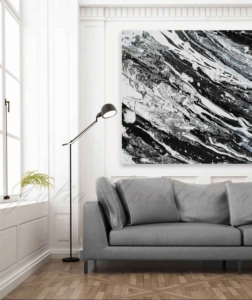 Modern Black and White Abstract Print, Ready To Hang, Large Wall Art ...
